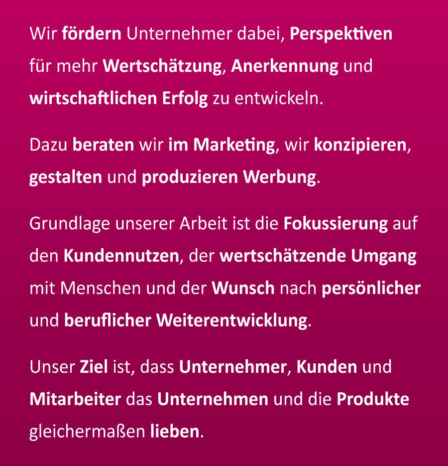 Mission-Statement der Werbeproduktur Simons e.K.